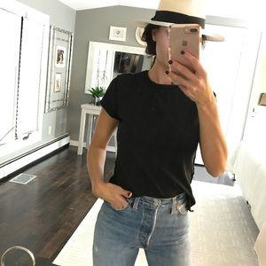 James Perse PAIX black printed t shirt size 3